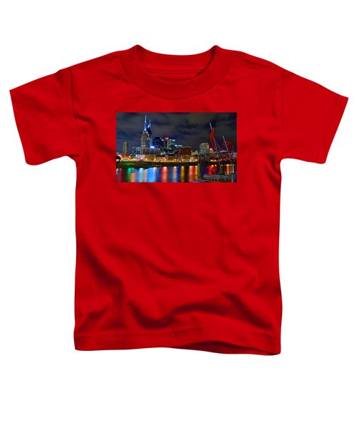 Nashville After Dark Toddler T-Shirt by Frozen in Time Fine Art Photography
