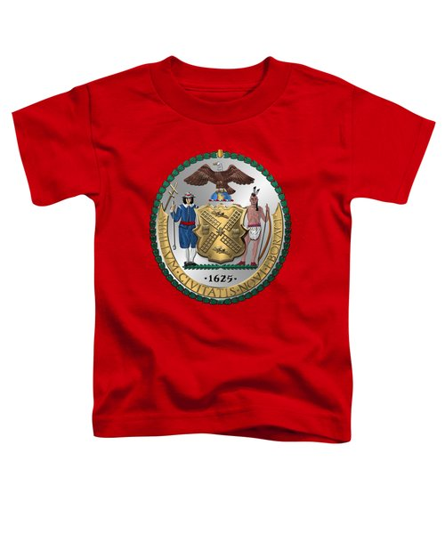 New York City Coat Of Arms - City Of New York Seal Over Red Velvet Toddler T-Shirt by Serge Averbukh