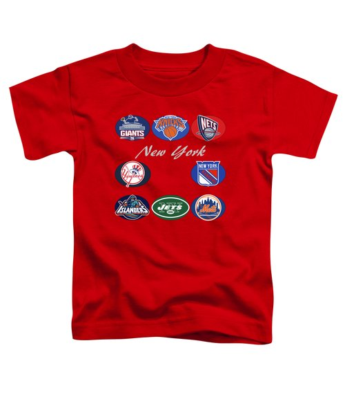 New York Professional Sport Teams Collage  Toddler T-Shirt by Movie Poster Prints