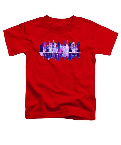 New York Skyline Red Toddler T-Shirt by John Groves