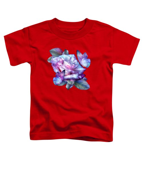Purple Rose And Butterflies Toddler T-Shirt by Carol Cavalaris