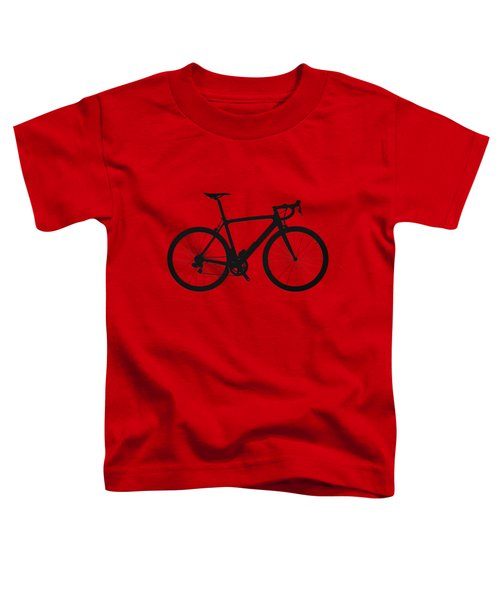 Road Bike Silhouette - Black On Red Canvas Toddler T-Shirt by Serge Averbukh
