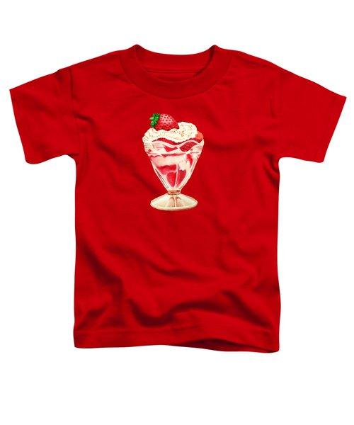 Strawberry And Cream Dessert Toddler T-Shirt by Sonja Taljaard