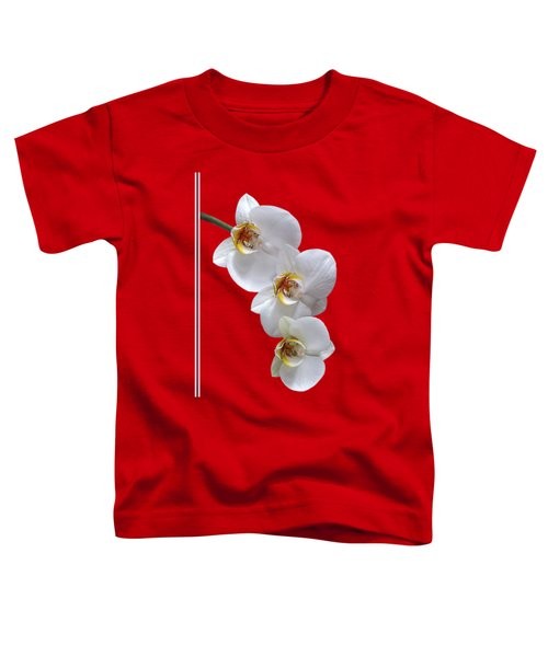 White Orchids On Terracotta Vdertical Toddler T-Shirt by Gill Billington