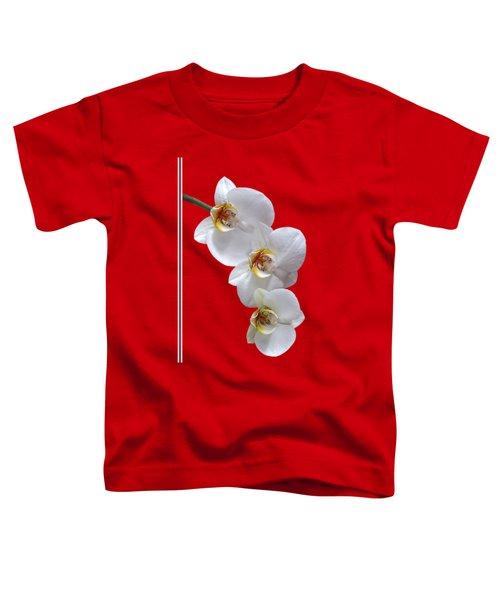 White Orchids On Terracotta Vdertical Toddler T-Shirt by Gill Billington