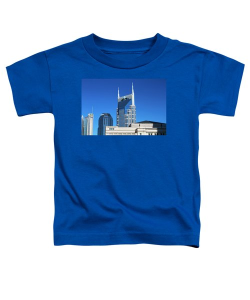 Batman Building And Nashville Skyline Toddler T-Shirt by Dan Sproul