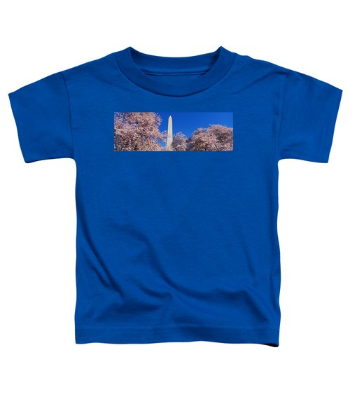 Cherry Blossoms Washington Monument Toddler T-Shirt by Panoramic Images