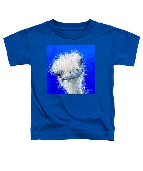 Ostrich Painting 'waldo' By Jan Matson Toddler T-Shirt by Jan Matson