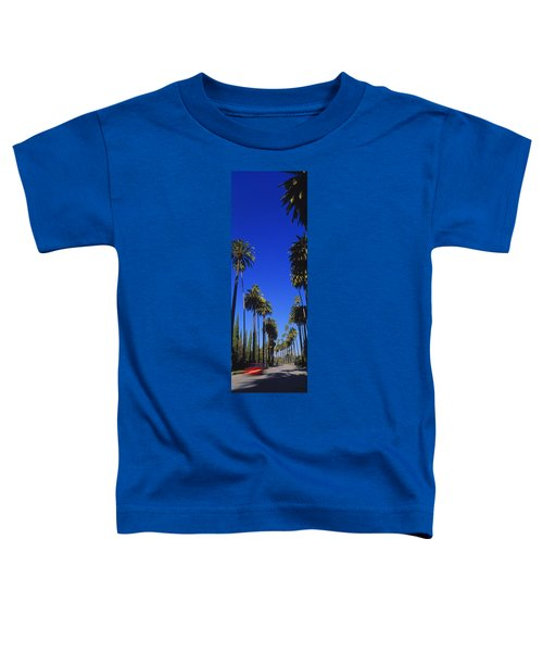 Palm Trees Along A Road, Beverly Hills Toddler T-Shirt by Panoramic Images