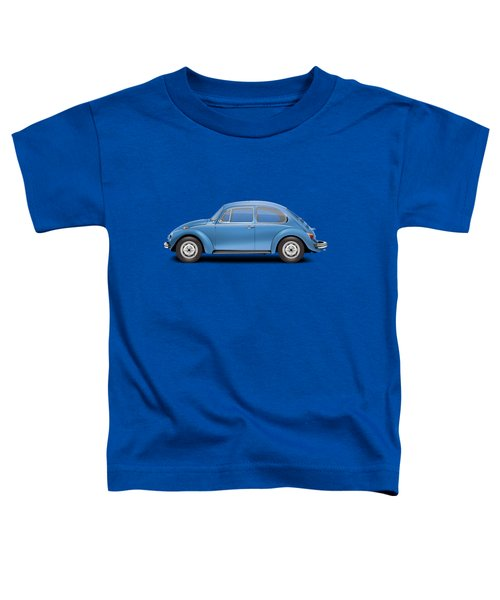 1975 Volkswagen Super Beetle - Ancona Blue Metallic Toddler T-Shirt by Ed Jackson