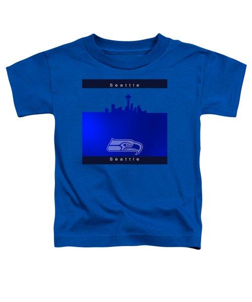 Seattle Seahawks Skyline Toddler T-Shirt by Alberto RuiZ