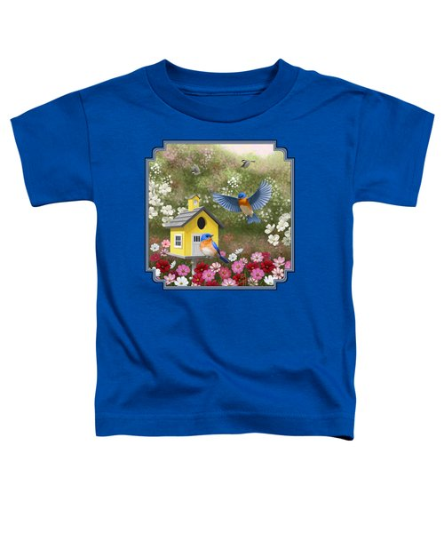 Bluebirds And Yellow Birdhouse Toddler T-Shirt by Crista Forest