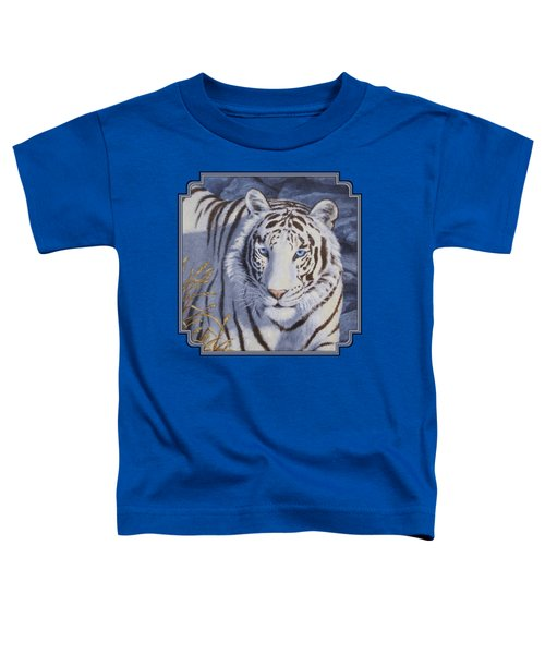 White Tiger - Crystal Eyes Toddler T-Shirt by Crista Forest