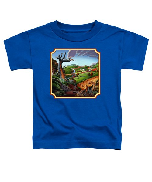 Autumn Wheat Harvest Country Farm Life Landscape - Square Format Toddler T-Shirt by Walt Curlee