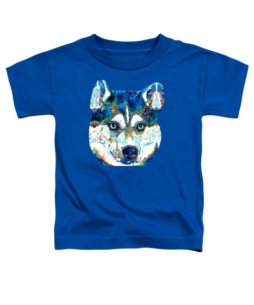 Colorful Husky Dog Art By Sharon Cummings Toddler T-Shirt by Sharon Cummings
