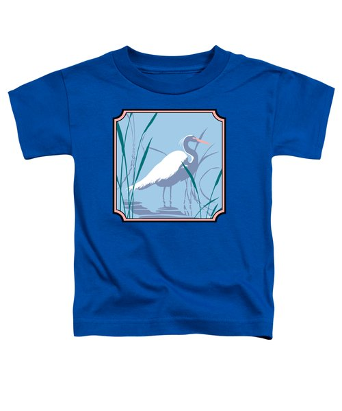 Egret Tropical Abstract - Square Format Toddler T-Shirt by Walt Curlee