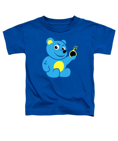 Evil Tattooed Teddy Bear Toddler T-Shirt by Boriana Giormova