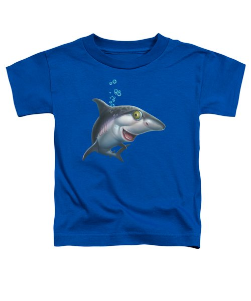 friendly Shark Cartoony cartoon under sea ocean underwater scene art print blue grey  Toddler T-Shirt by Walt Curlee