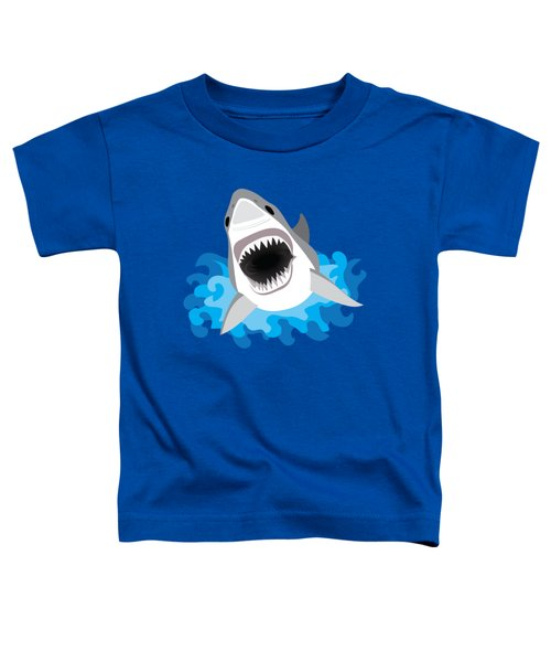 Great White Shark Leaps From Waves Toddler T-Shirt by Antique Images