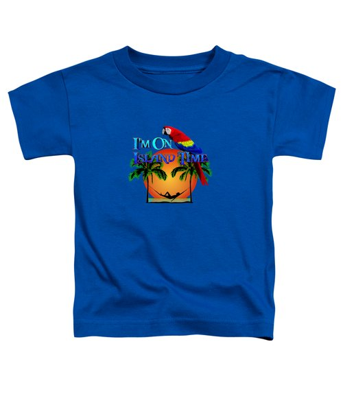 Island Time And Parrot Toddler T-Shirt by Chris MacDonald