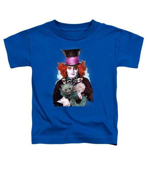 Mad Hatter And Cheshire Cat Toddler T-Shirt by Melanie D