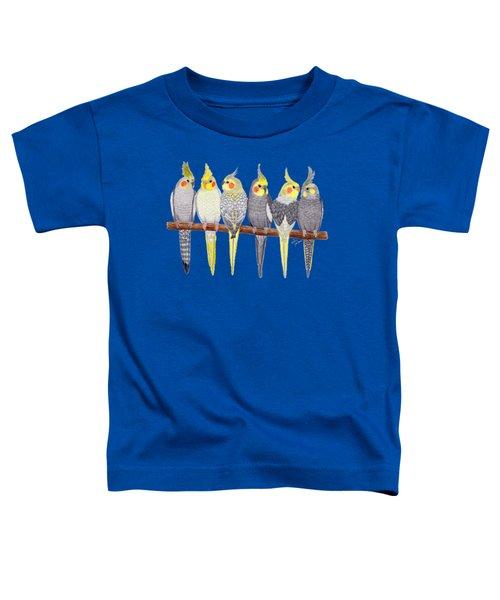 Six Cockatiels Toddler T-Shirt by Rita Palmer