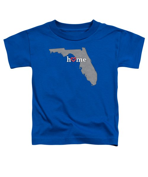 State Map Outline Florida With Heart In Home Toddler T-Shirt by Elaine Plesser