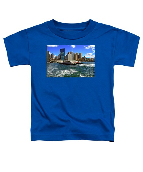 Sydney Skyline From Harbor By Kaye Menner Toddler T-Shirt by Kaye Menner