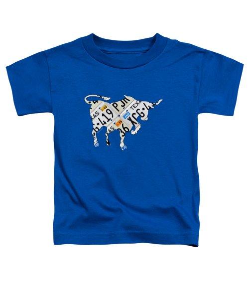 Texas Longhorn Vintage License Plate Art On Blue Gray Barn Wood Toddler T-Shirt by Design Turnpike