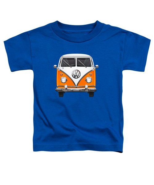 Volkswagen Type - Orange And White Volkswagen T 1 Samba Bus Over Blue Canvas Toddler T-Shirt by Serge Averbukh