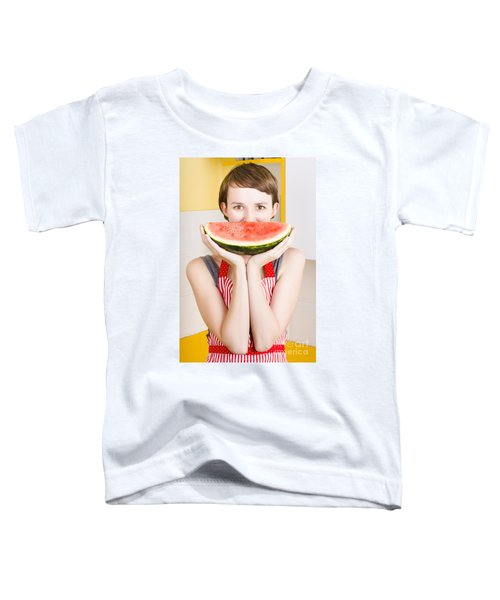 Funny Woman With Juicy Fruit Smile Toddler T-Shirt by Jorgo Photography - Wall Art Gallery