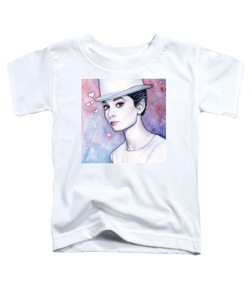 Audrey Hepburn Fashion Watercolor Toddler T-Shirt by Olga Shvartsur