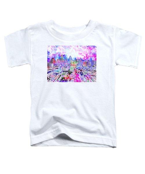 Austin Texas Watercolor Panorama Toddler T-Shirt by Bekim Art