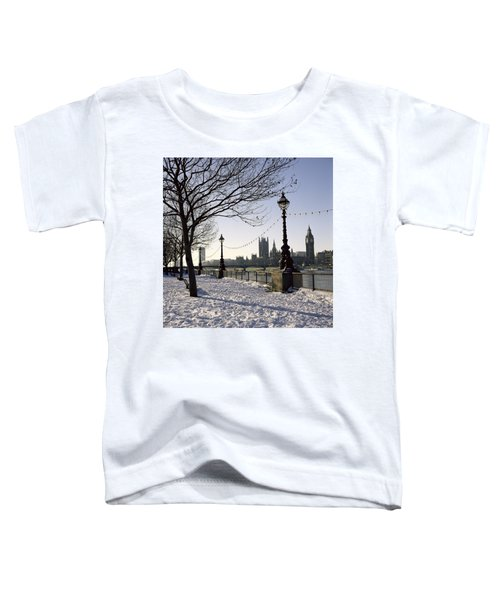 Big Ben Westminster Abbey And Houses Of Parliament In The Snow Toddler T-Shirt by Robert Hallmann