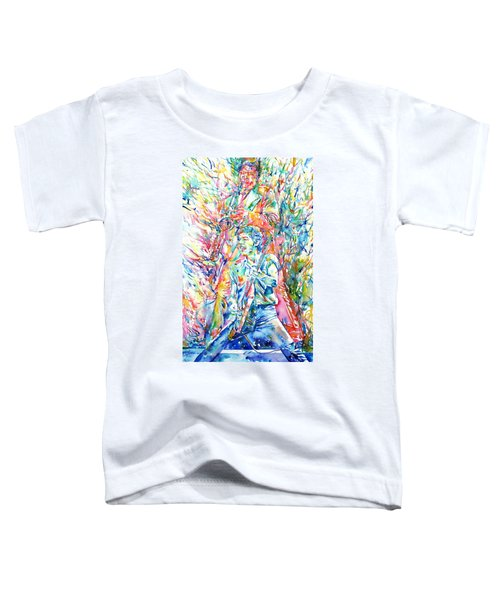 Bruce Springsteen And Clarence Clemons Watercolor Portrait Toddler T-Shirt by Fabrizio Cassetta