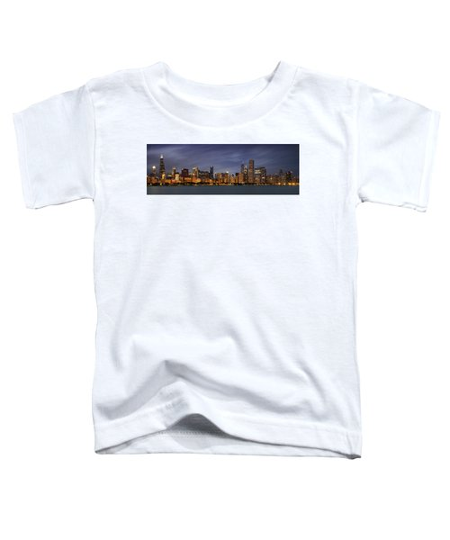 Chicago Skyline At Night Color Panoramic Toddler T-Shirt by Adam Romanowicz