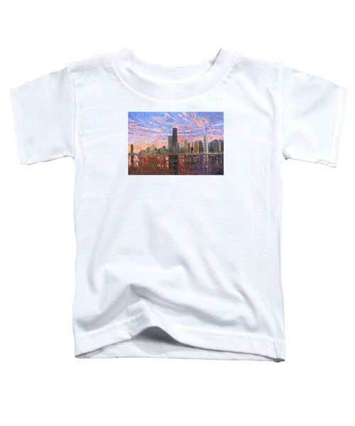 Chicago Skyline - Lake Michigan Toddler T-Shirt by Mike Rabe