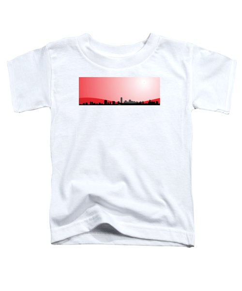 Cityscapes - Miami Skyline In Black On Red Toddler T-Shirt by Serge Averbukh