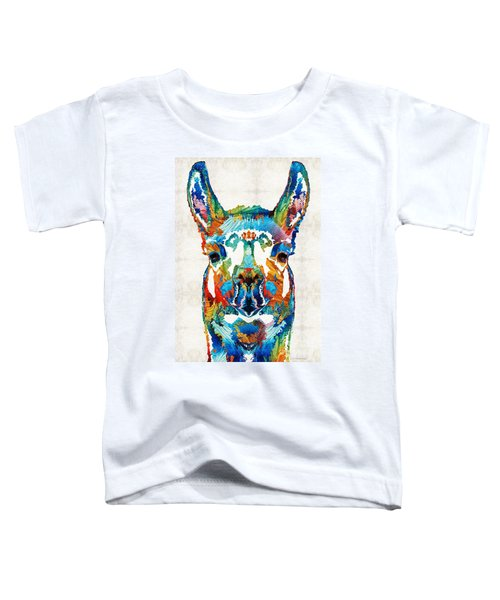 Colorful Llama Art - The Prince - By Sharon Cummings Toddler T-Shirt by Sharon Cummings