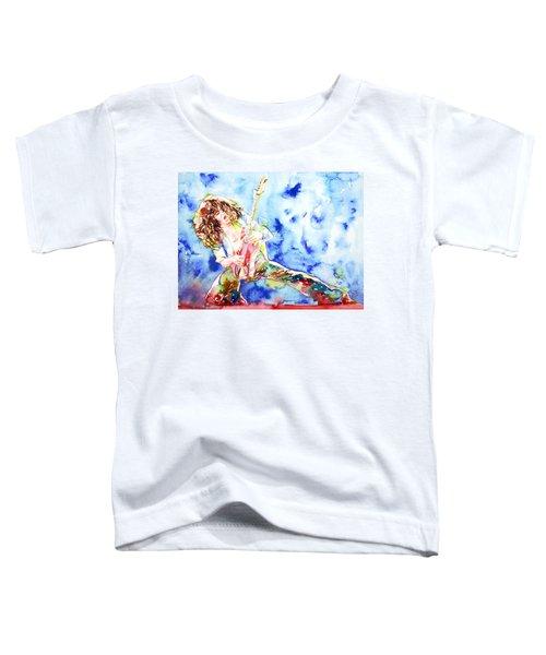 Eddie Van Halen Playing The Guitar.1 Watercolor Portrait Toddler T-Shirt by Fabrizio Cassetta