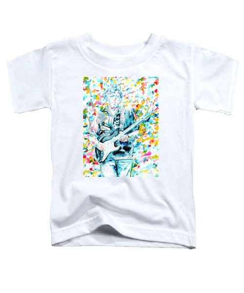 Eric Clapton - Watercolor Portrait Toddler T-Shirt by Fabrizio Cassetta