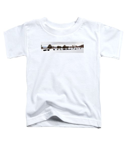 Herd Of Yaks Bos Grunniens On Snow Toddler T-Shirt by Panoramic Images