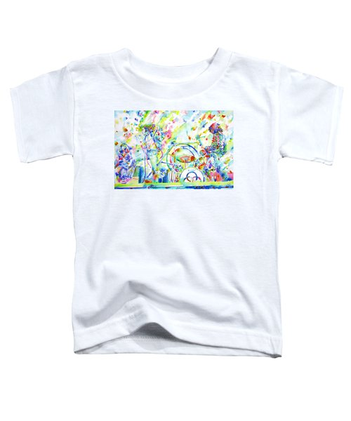 Led Zeppelin Live Concert - Watercolor Painting Toddler T-Shirt by Fabrizio Cassetta