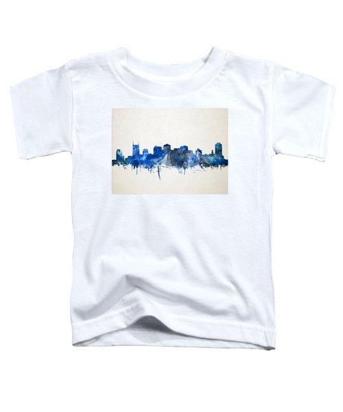 Nashville Skyline Watercolor 11 Toddler T-Shirt by Bekim Art