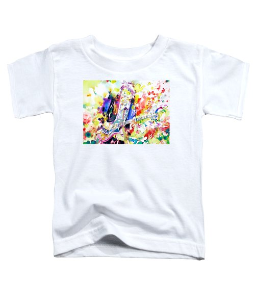 Neil Young Playing The Guitar - Watercolor Portrait.2 Toddler T-Shirt by Fabrizio Cassetta
