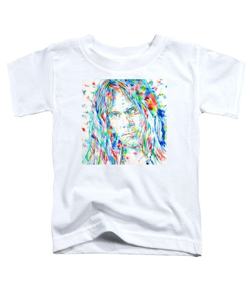 Neil Young - Watercolor Portrait Toddler T-Shirt by Fabrizio Cassetta