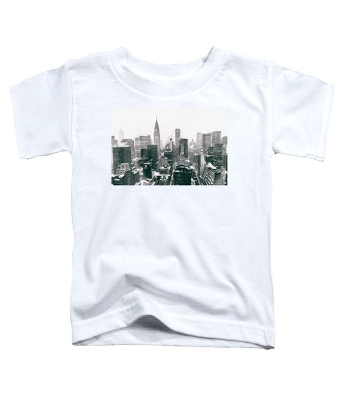 New York City - Snow-covered Skyline Toddler T-Shirt by Vivienne Gucwa