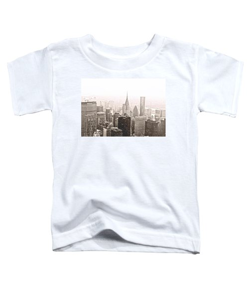 New York Winter - Skyline In The Snow Toddler T-Shirt by Vivienne Gucwa