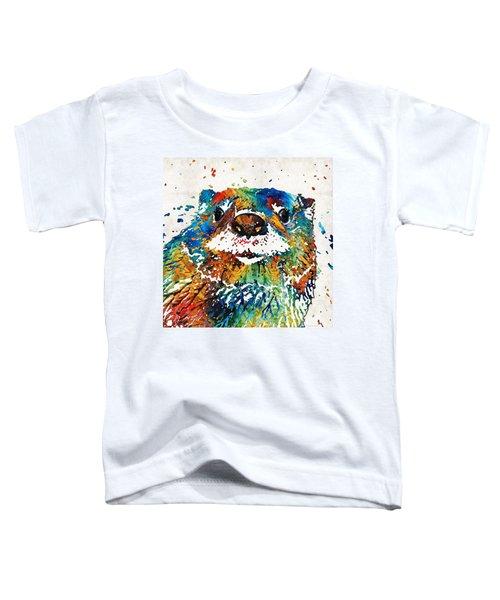 Otter Art - Ottertude - By Sharon Cummings Toddler T-Shirt by Sharon Cummings