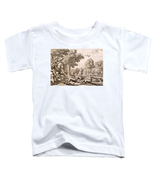 Otter Hunting By A River, Engraved Toddler T-Shirt by Francis Barlow